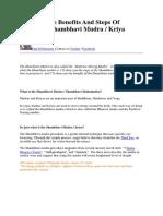 The Shambhavi Mudra