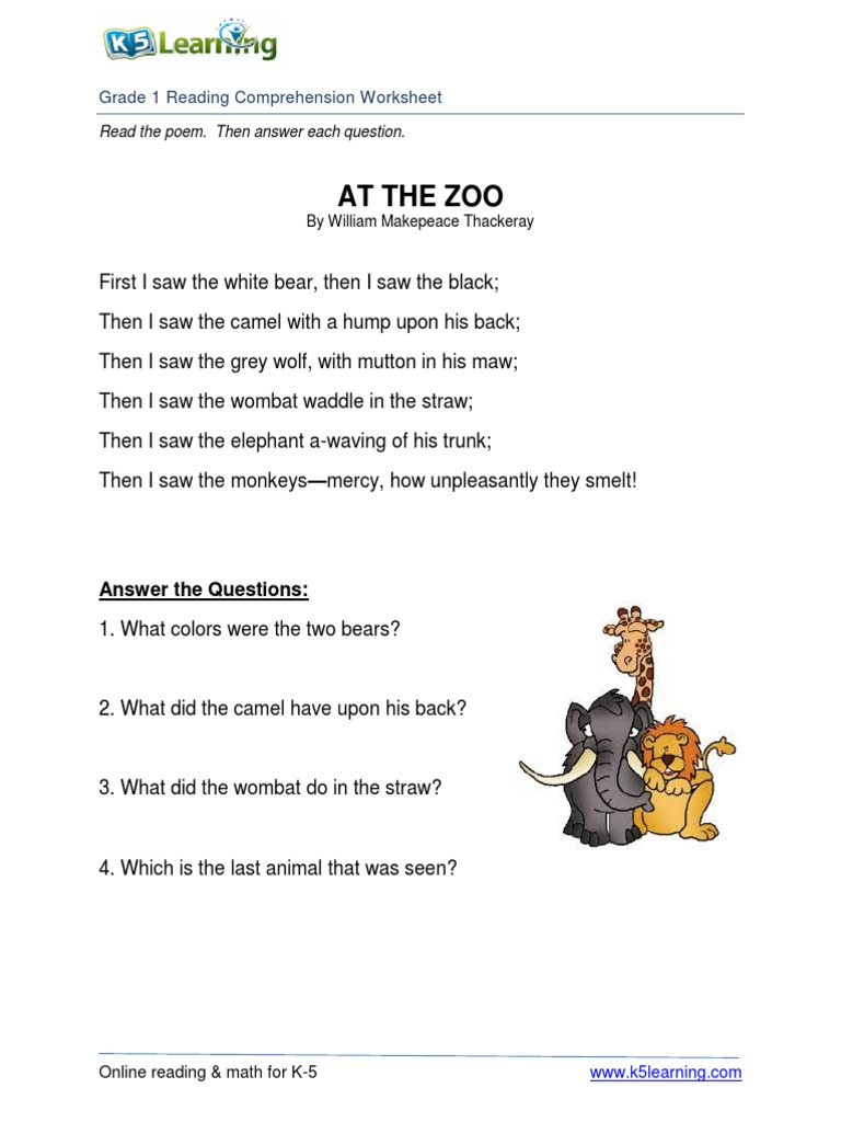 - Reading-comprehension-worksheet-grade-1-at-the-zoo.pdf