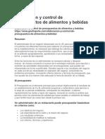 Elaboración y Control de Presupuestos de a y B