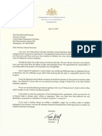 Governor Wolf Letter to Attorney General Sessions Regarding Medical Marijuana