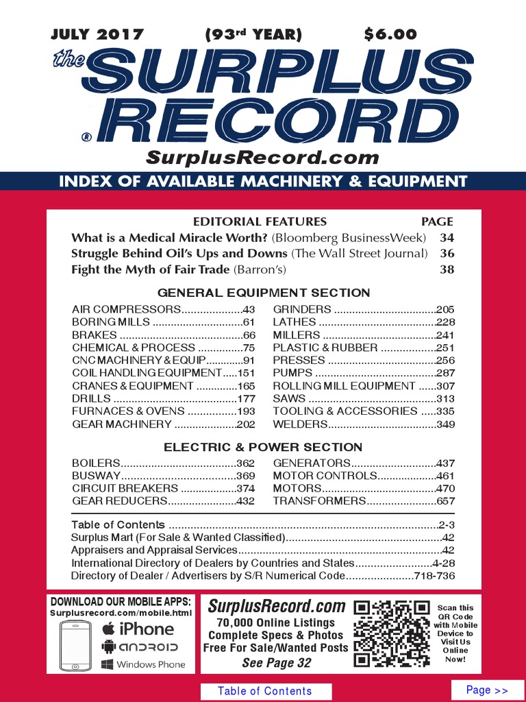 July 2017 Surplus Record Machinery Equipment Directory Touch Switch Circuits P Marian 4011