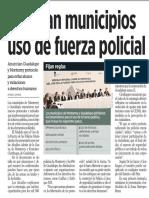 15-06-17 Regulan municipios uso de fuerza policial