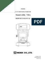 Nidek ARK-730 Autorefractometer - Service Manual