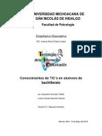 Conocimientos de TIC's en Alumnos de Bachillerato