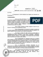 DECRETO N° 1557, autoriza el aumento de la tarifa del transporte interurbano