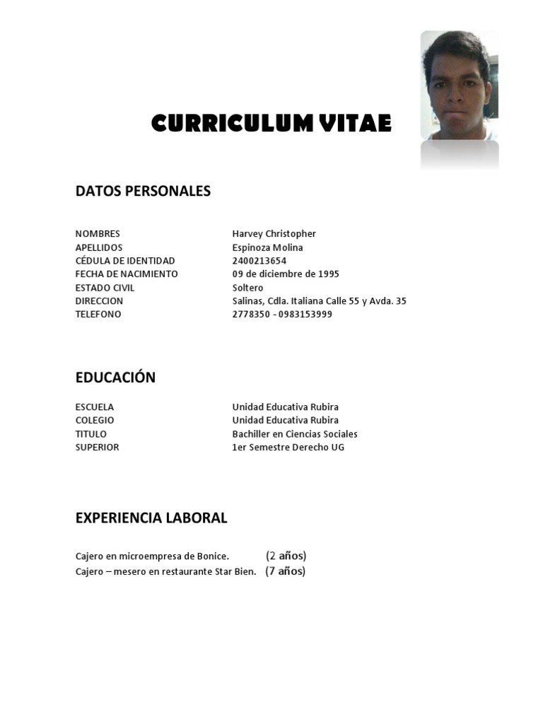 Dorable Curriculum De Cajero De Restaurante Regalo - Ejemplo De ...