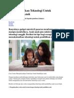 Memaksimalkan Teknologi Untuk Pendidikan Anak