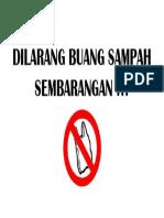 Dilarang Buang Sampah Sembarangan