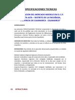 1.- Especificaciones Tecnicas Estructuras Mercado Chanta