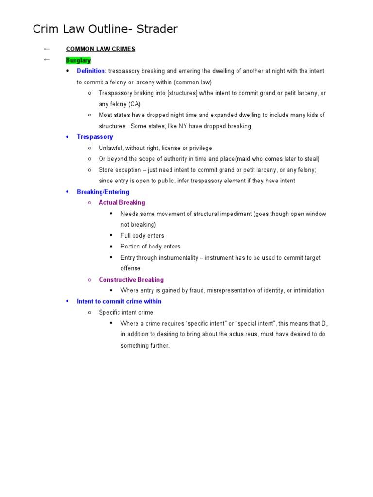 crim law outline | murder | larceny
