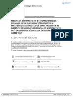Modelos Matem Ticos de Transferencia de Masa en Deshidrataci n Osm Tica Mathematical Models of Mass Transfer in Osmotic Dehydration Modelos Matem