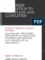 Teachers' Obligation to Discipline and Liabilities