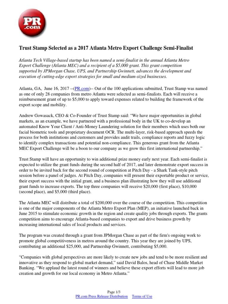 Trust Stamp Selected as a 2017 Atlanta Metro Export Challenge Semi
