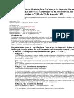 Regulamento Para a Liquidação e Cobrança Do Imposto Sobre as Sucessões e Doações e SISA Sobre as Transmissões de Imobiliários Por Título Oneroso
