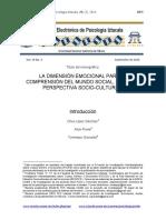 Introduccion a monográfico La dimensión emocional para la comprensión del mundo social desde la perspectiva socio-cultural