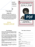 Shirley Wright Funeral Program