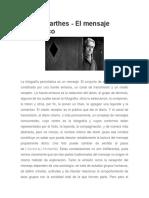 Roland Barthes - El Mensaje Fotográfico