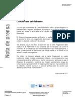 Comunicado del Gobierno sobre la oferta de Puigdemont.