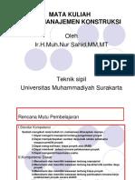 Mata Kuliah Tugas Manajemen Konstruks 20i4