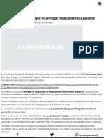 Oncosalud Será Multada Por No Entregar Medicamentos a Paciente _ Noticias Del Perú _ LaRepublica