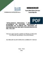 Inteligencia Emocional y Rendimiento Académico en Historia, Geografía y Economía en Alumnos de Segundo de Secundaria de Una Insti