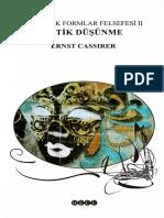 Ernst Cassirer - Mitik Düşünme (Sembolik Formlar Felsefesi-2)
