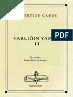 Lucretius Carus - Varlığın Yapısı II