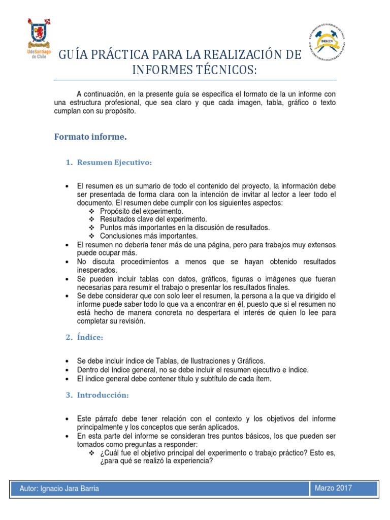Guía Práctica Para La Realización de Informes Técnicos