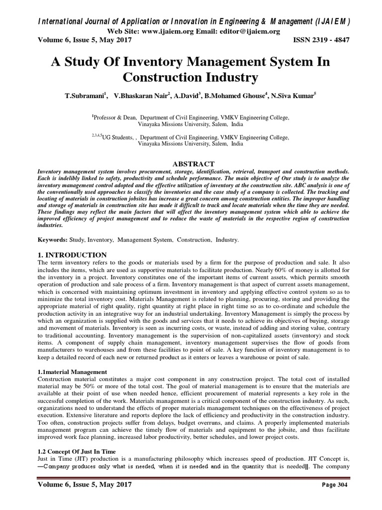 A Study Of Inventory Management System In Construction Industry