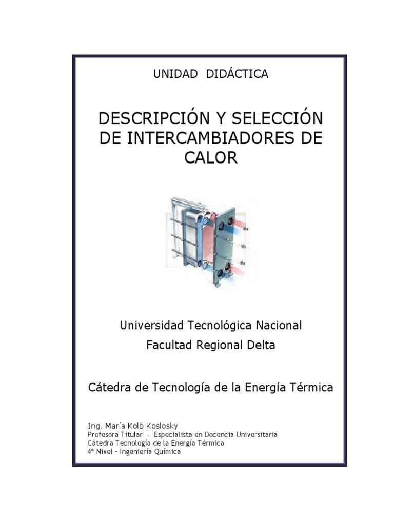 Descripcion y Seleccion de Intercambiadores de calor