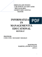 Informatizarea Managementului Educational-referat Mary