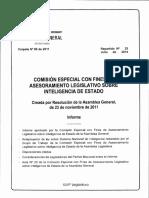 COMISIÓN ESPECIAL CON FINES DE ASESORAMIENTO LEGISLATIVO SOBRE INTELIGENCIA DE ESTADO