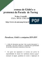 Os Teoremas de Gödel e o Problema Da Parada de Turing