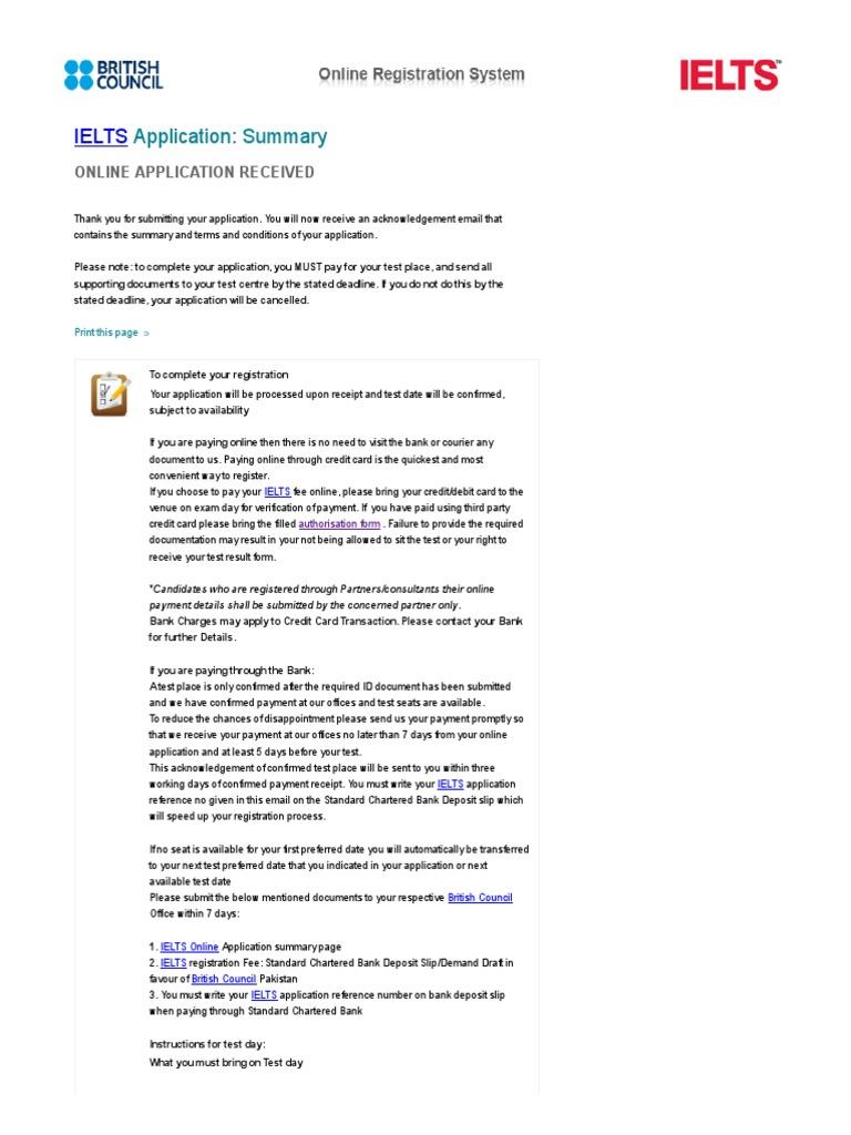British council ielts online application payments credit card falaconquin