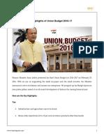 9 Highlights of Union Budget 2016