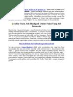 Daftar Main Judi Blackjack Online Pakai Uang Asli Indonesia