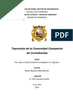 Toponimia de La Comunidad Campesina de Cochabamba