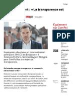 Nicolas Baygert « La Transparence Est Une Arme » - ComPol