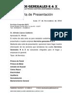 Carta de Presentacion R&X Servicios Generales