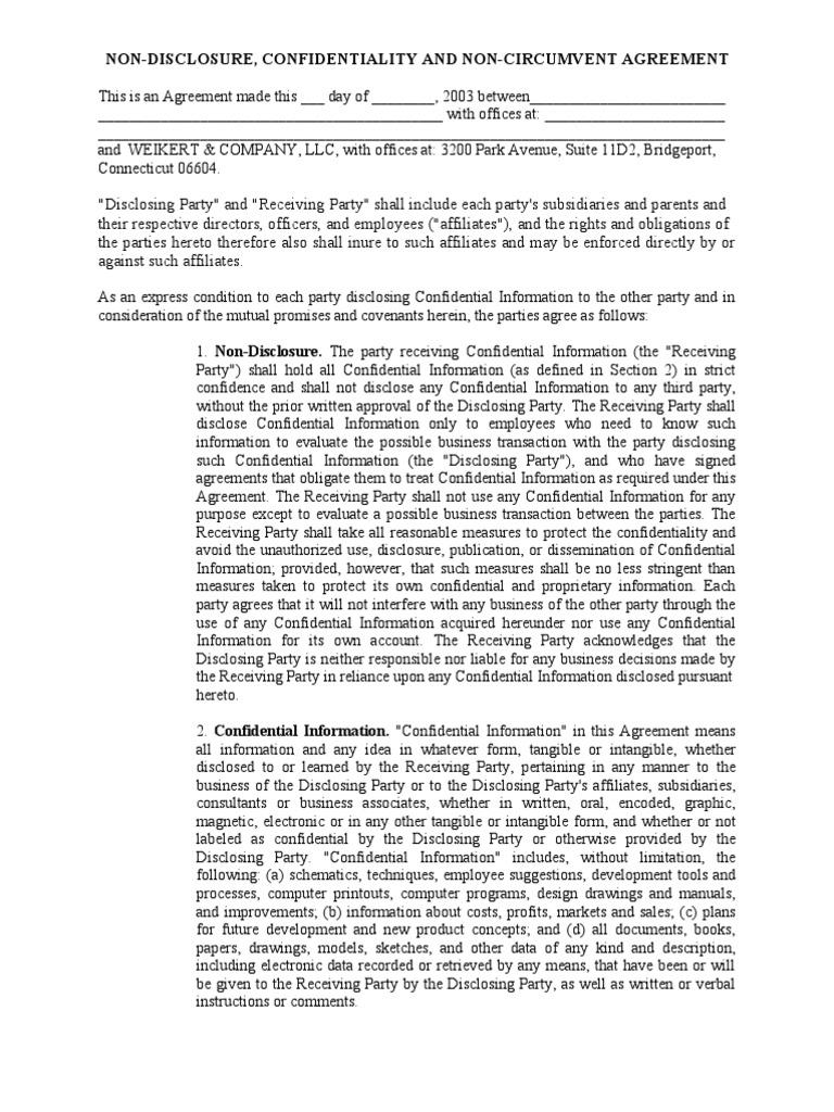 Non Disclosure Confidfentiality And Non Circumvent Agreement