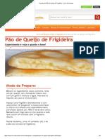 Receita de Pão de Queijo de Frigideira - Livro de Receita