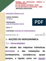 Máquinas Hidráulicas 01 - Noçoes de Hidrodinâmica