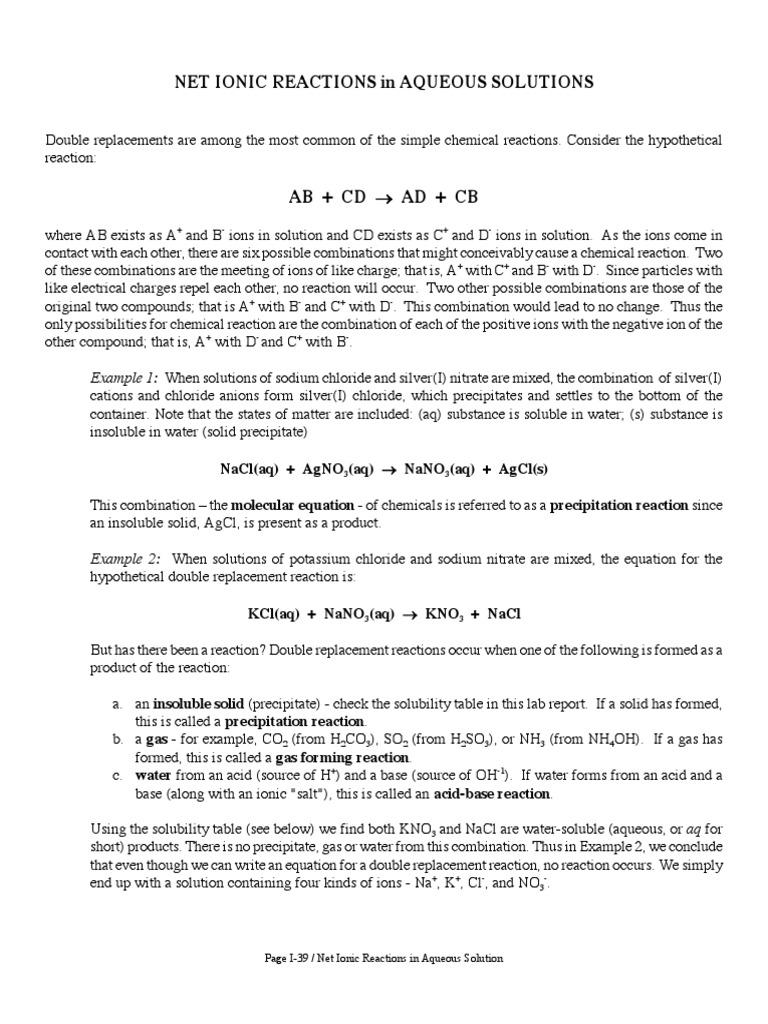 worksheet Precipitation Reactions Worksheet kno3 precipitation chemistry ion