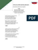 Letra Oficial Del Himno Nacional Mexicano