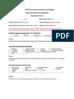 classroom observation assignment-form 2