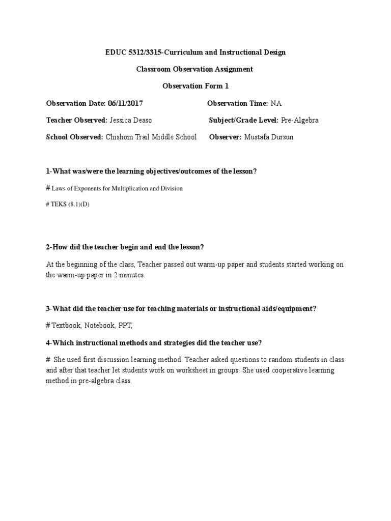 Classroom Observation Assignment Form 1 Teaching Method