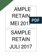 Label Sample Retain