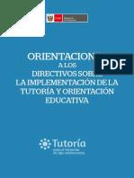 Orientaciones a Los Directivos Sobre La Implementacion de La Tutoria y Orientacion Educativa