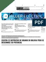 Existen 22 Depósitos de Uranio en Bolivia Pero Se Desconoce Su Potencial