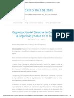 Decreto 1072 de 2015 » Organización Del Sistema de Gestión de La Seguridad y Salud en El Trabajo